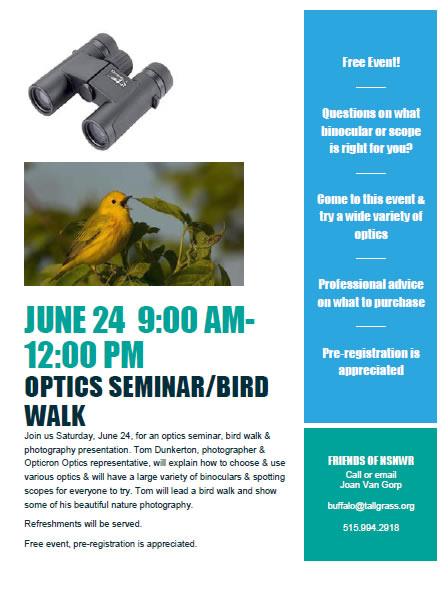 Friends of Neal Smith National Wildlife Refuge | Optics Seminar and Bird Walk